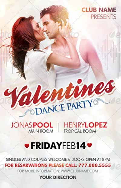 Valentines Dance Party Flyer Template