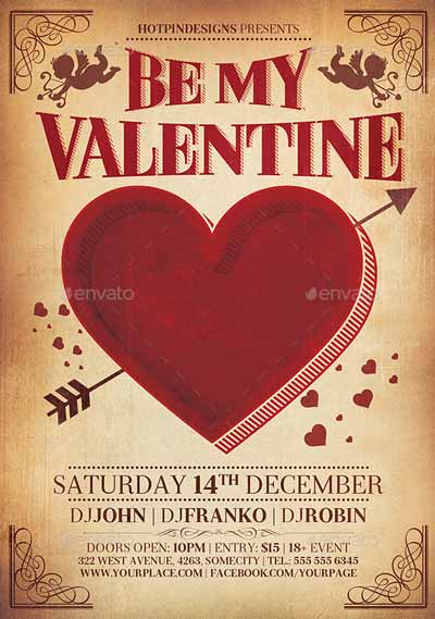 Valentines Day Vintage Flyer Template