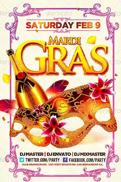 Mardi Gras Party Flyer Bundle