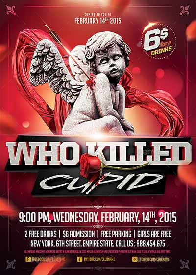 Who killed Cupid Valentines Flyer Template