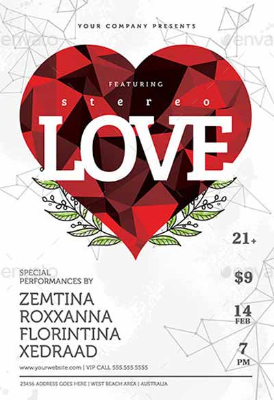 Minimal Valentine Party Flyer Template