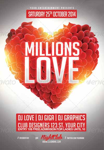 Millions Love Flyer PSD Template