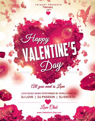 Happy Valentines Day Flyer Template