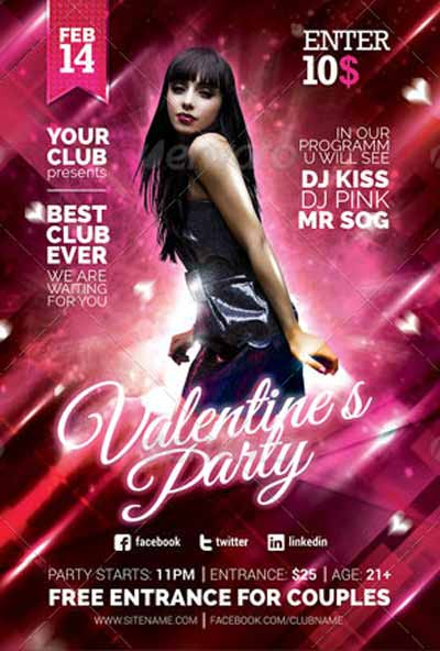 Valentine`s Day Love Party Flyer