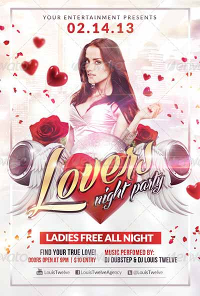 Lovers Night Valentine´s Day Flyer Template including Facebook Cover