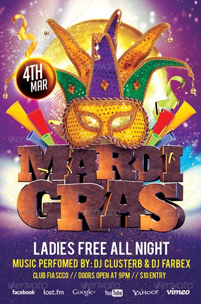 Mardi Gras Party Flyer v.2