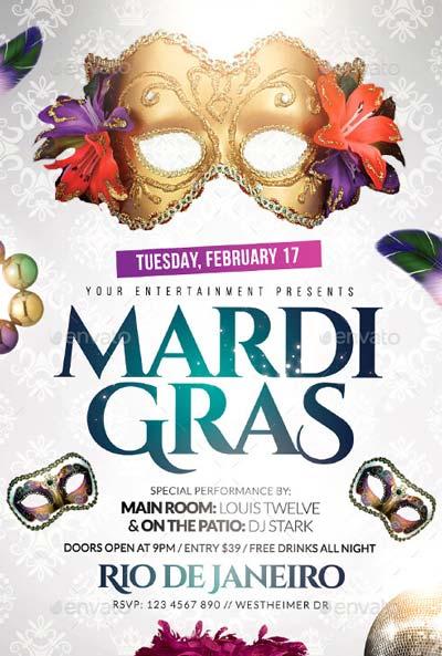 Mardi Gras White Edition Flyer + FB Cover