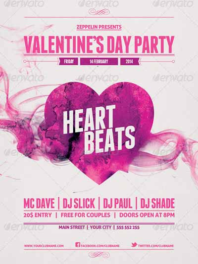 Valentine's Day Party Event Flyer Template