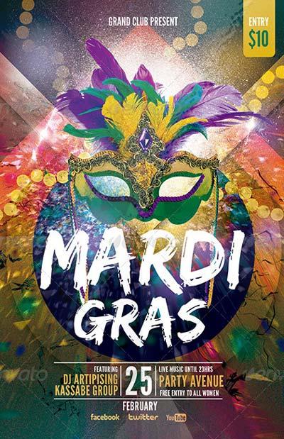 Mardi Grass   Party Flyer