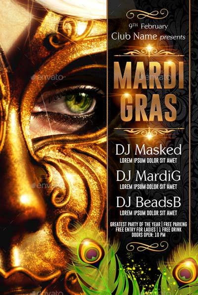 Mardi Gras or Masquerade Flyer Template