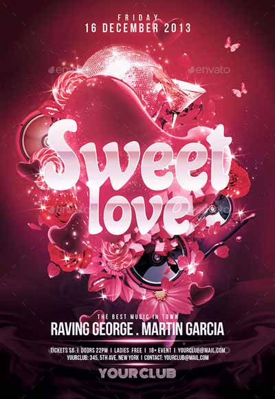 Sweet Love Valentines Flyer Template