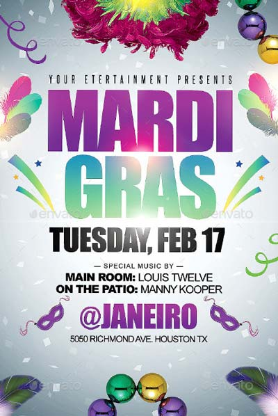 Mardi Gras or Carnival Party Flyer + FB Cover