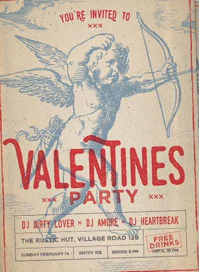Vintage Cupid Valentines Day Flyer