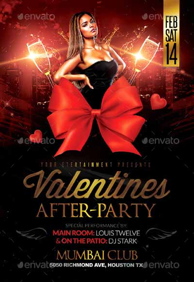 Valentines After Party Flyer Template