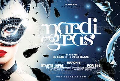 Mardi Gras & Masquerade Flyer Template