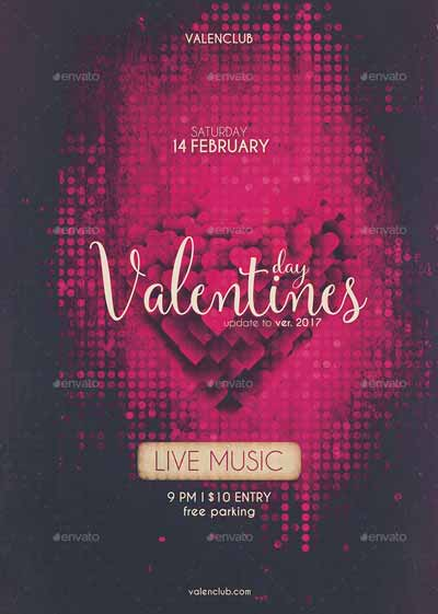 Vintage Valentines Day Party Flyer Template