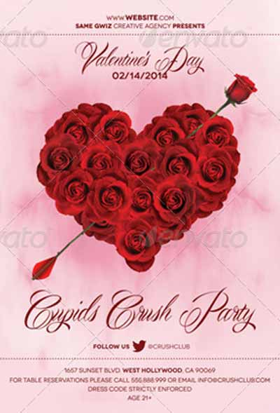 Rose Heart Valentines Day Flyer Template