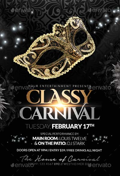Cly Carnival Or Masquerade Ball Flyers