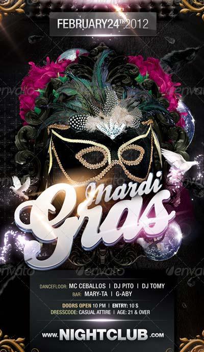 Dark Theme Mardi Gras Flyer