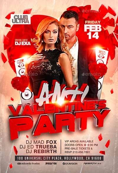 Anti Valentine's Party Flyer Template
