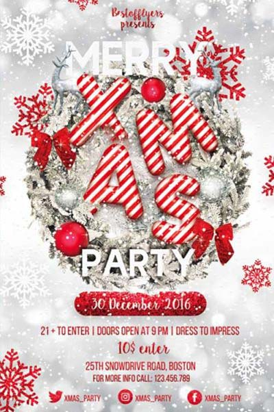 Merry X-Mas Party Free Flyer Template