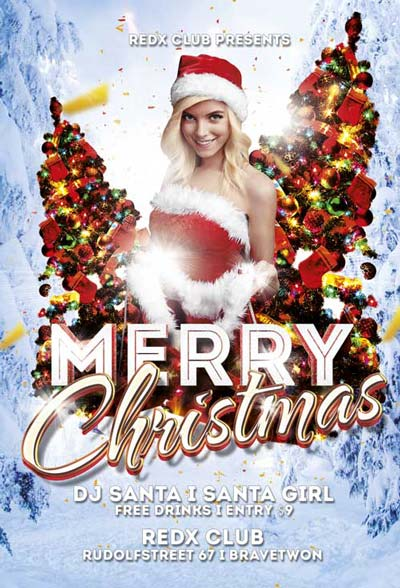Free Merry Christmas Party Flyer Template