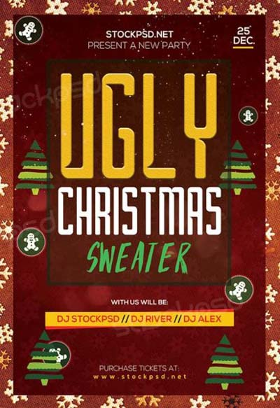 Ugly Christmas Sweater Party Free Flyer Template