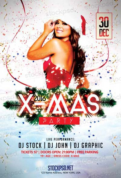 X-Mas Party Free PSD Flyer Template