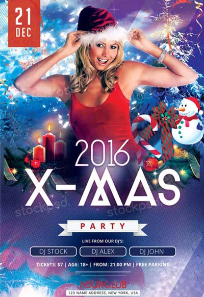 X-Mas Party Free Flyer PSD Template