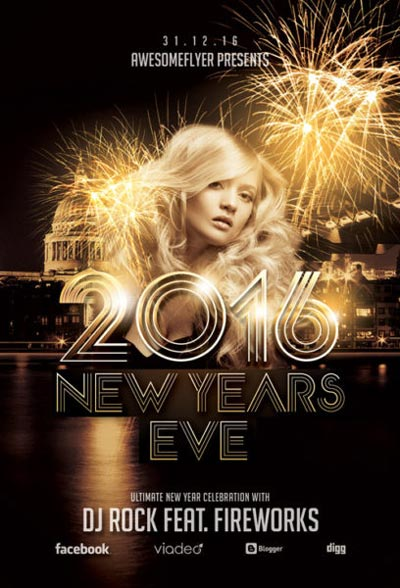 New Year Celebration Free Flyer Template