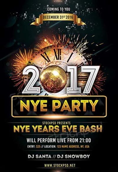NYE 2017 Party Free Flyer Template
