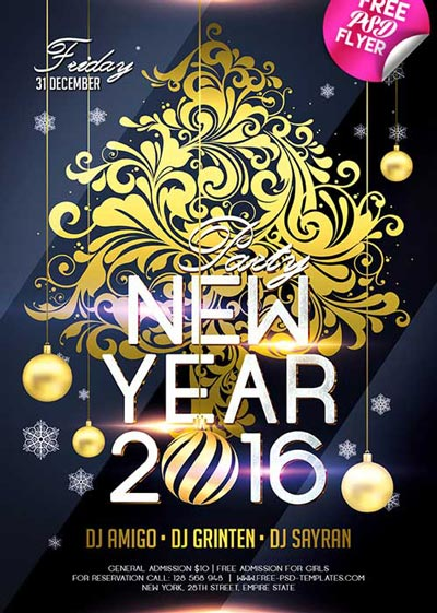 New Year 2016 Free PSD Flyer Template