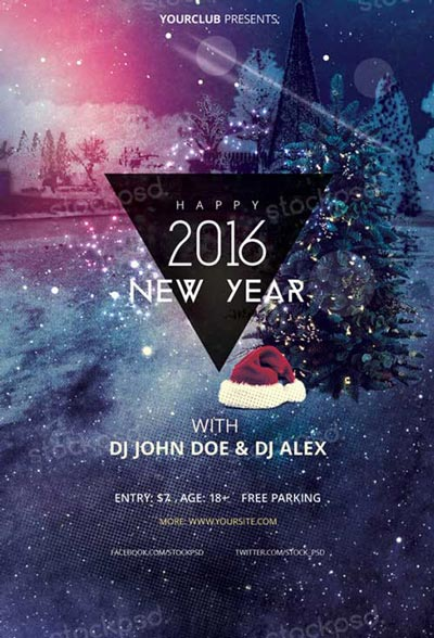 Happy New Year 2016 Free PSD Flyer Template