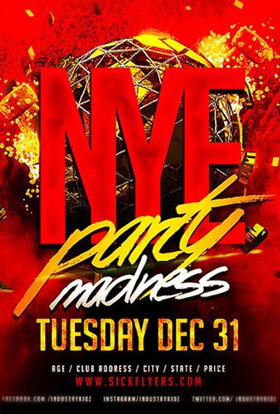 NYE Madness Free PSD Flyer Template