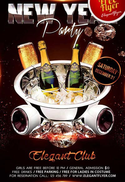 New Year Party Flyer Free PSD Template