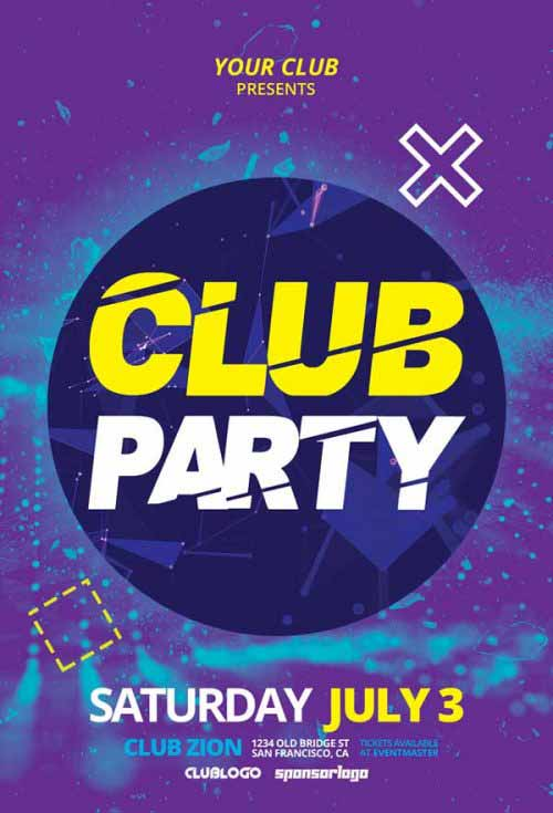 Free Electro Club Party Flyer Template