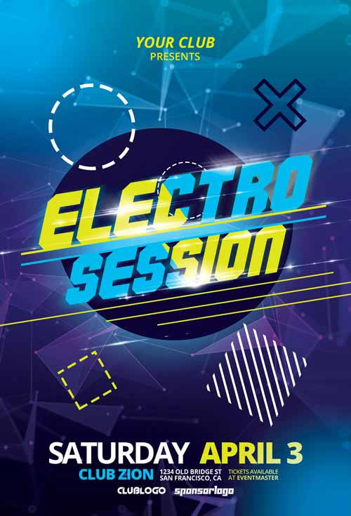 Free Electro Club Session Vol 1 Flyer Template