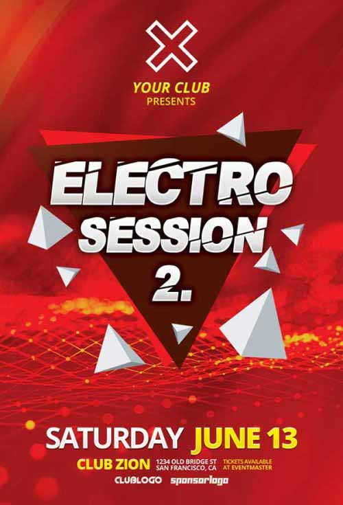 Free Electro Club Session Vol 2 Flyer Template