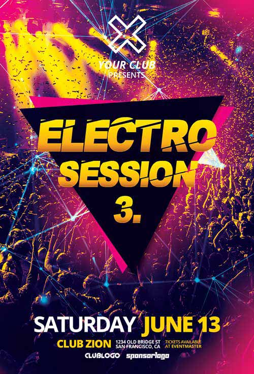 Free Electro Club Session Vol 3 Flyer Template