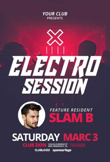 Free Electro Club Flyer Template
