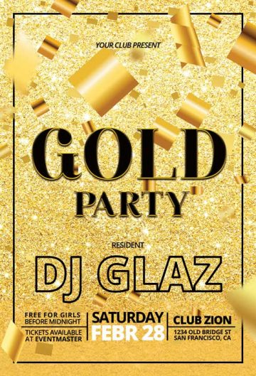 Free Gold Party Flyer Template