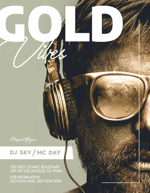 Free Golden Vibes Party Flyer Template