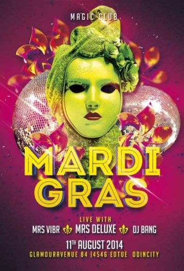 Free Mardi Gras Club Flyer Template