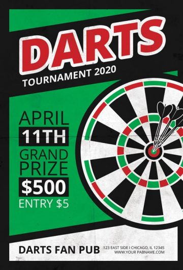 Darts Tournament Free Flyer Template