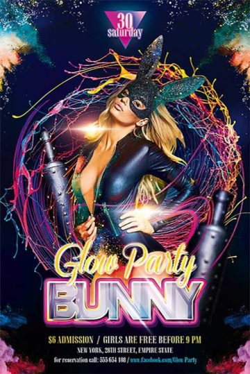 Free Bunny Glow Party Flyer Template