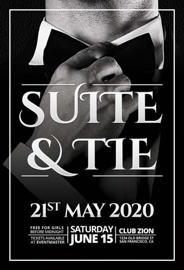 Free Elegant Suite & Tie Party Flyer Template (Freebie)