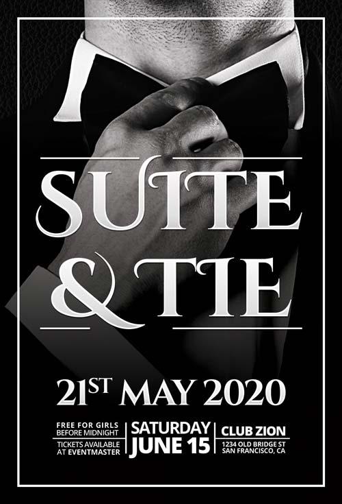 Free Elegant Suite & Tie Party Flyer Template (Freebie)